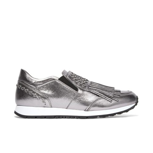 Tod's Embellished fringed metallic leather slip-on sneakers in Silver as seen on Meghan Markle