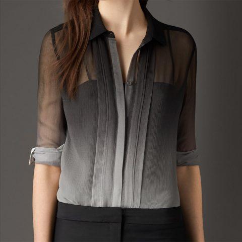 Burberry Degradé Silk Shirt as seen on Meghan Markle as Rachel Zane on Suits.