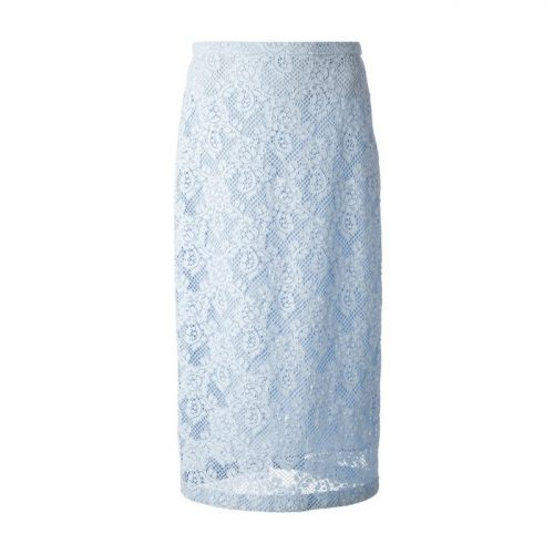 Burberry Prorsum Light Blue Floral Lace Skirt as seen on Meghan Markle as Rachel Zane on Suits Season 4 Episode 1.
