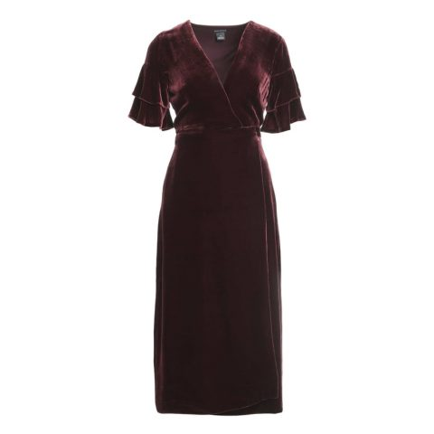 Club Monaco 'Tay' wrap dress with a V-neck in Dark Cherry as seen on Meghan Markle