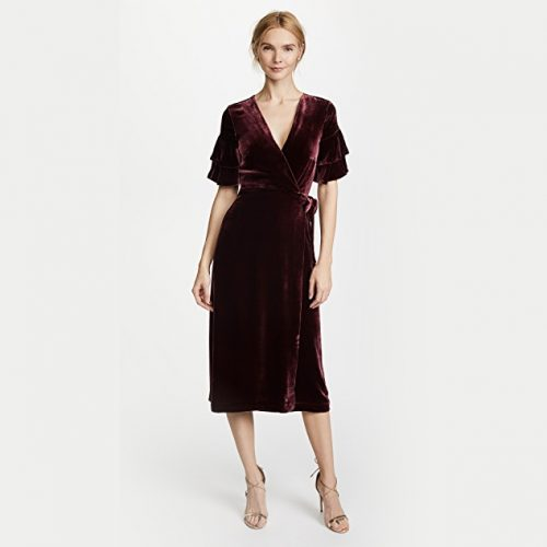 Club Monaco Dark Cherry Velvet Tay Dress as worn by Meghan Markle