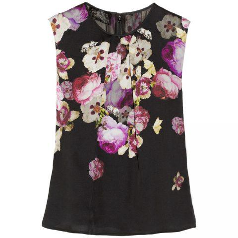 Giambattista Valli Floral-Print Silk-Charmeuse Top as worn by Meghan Markle as Rachel Zane on Suits.