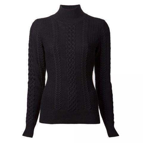 Jason Wu Long-Sleeve Cable-Knit Turtleneck Sweater in Black as seen on Meghan Markle as Rachel Zane on Suits Season 3 Episode 16.