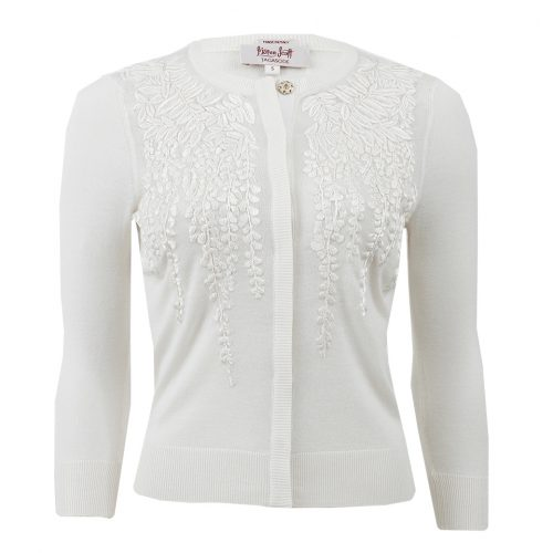 L'Wren Scott White Wisteria Embroidered Cardigan as seen worn by Meghan Markle as Rachel Zane on Suits.