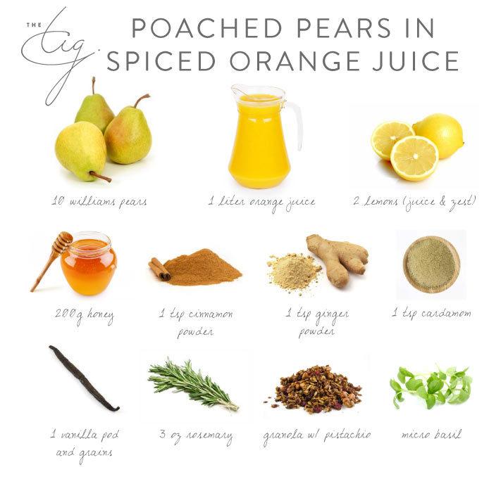 Poached Pear in Spiced Orange Juice Recipe Board - The Tig