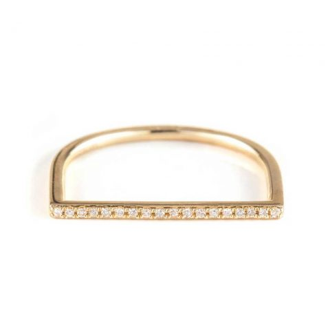 Zofia Day Bar Stack Ring with pave diamonds in 14K gold as seen on Meghan Markle