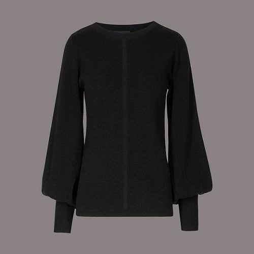 Marks & Spencer Autograph Wool Blend Round Neck Bell Sleeve Jumper as seen on Meghan Markle