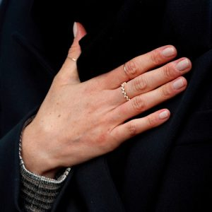 Ring detail - Meghan Markle and Prince Harry visit Cardiff Castle in Wales on January 18, 2018.
