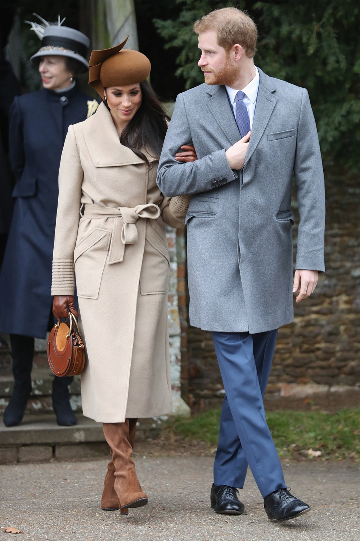 Meghan Markle and Prince Harry at St Mary Magdalene Church near Sandringham for Christmas service on Dec 25, 2017.