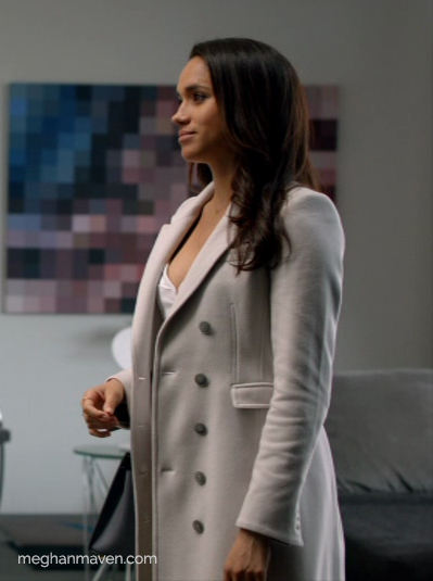 Meghan Markle wearing a Burberry Cashmere Northcombe Coat as Rachel Zane on Suits.