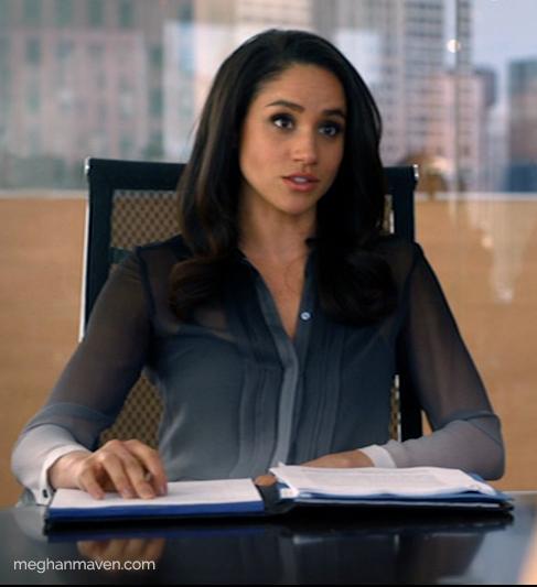 Meghan Markle wearing a Burberry Degradé Silk Shirt as Rachel Zane on Suits.