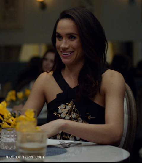 Meghan Markle wearing a Carolina Herrera Beaded Crisscross Halter Top as Rachel Zane on Suits Season 5 Episode 2.