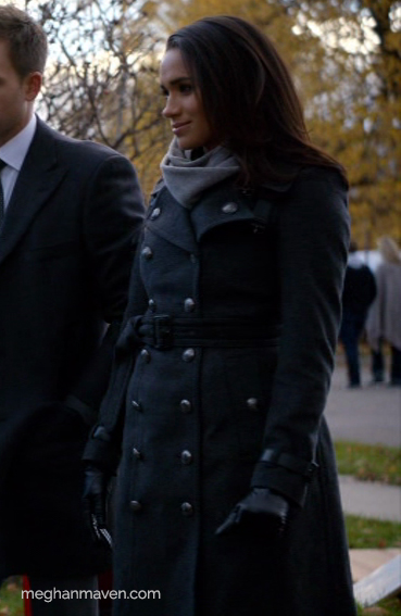Meghan Markle wearing a Burberry Long Wool Cashmere Trench Coat as Rachel Zane on Suits.