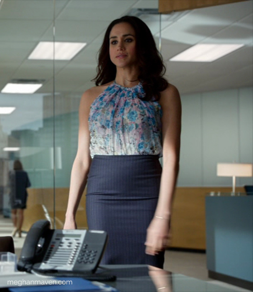 "Meghan Markle as Rachel Zane wearing a Nina Ricci floral silk top on 'Suits' Season 4 Episode 2 ""Lunch and Dinner."""
