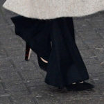 Meghan Markle wearing Sarah Flint Black Suede Jay Pumps arriving at Reprezent Radio at Pop Brixton in Brixton, London on January 9, 2018.