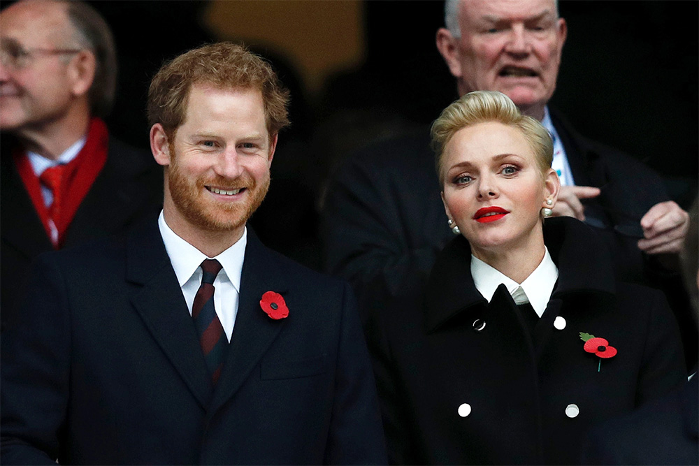 Prince Harry and Princess Charlene of Monaco watching England v South Africa at Twickenham stadium in 2016.