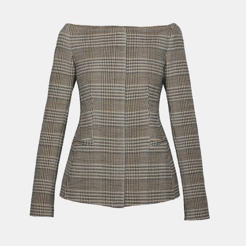 Theory Wool Off-The-Shoulder Herringbone Jacket as worn by Meghan Markle