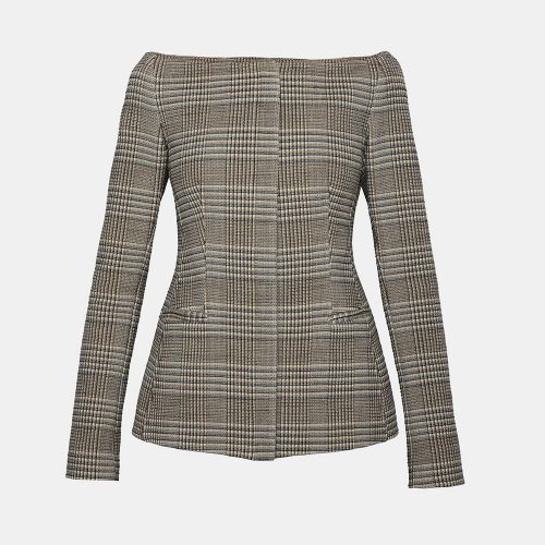 Theory Wool Off-The-Shoulder Herringbone Jacket as worn by Meghan Markle