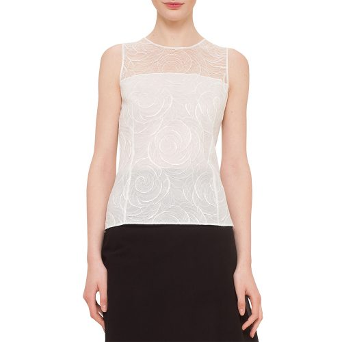 Akris Floral Lace Sleeveless Blouse as seen on Meghan Markle as Rachel Zane on Suits Season 5 Episode 10.