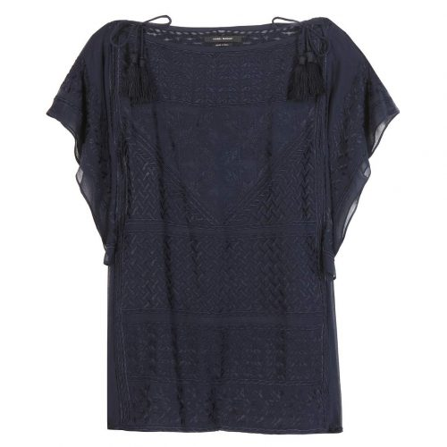 Isabel Marant Allen Gipsy Silk Georgette Top in Navy as seen on Meghan Markle as Rachel Zane on Suits Season 6 Episode 4.