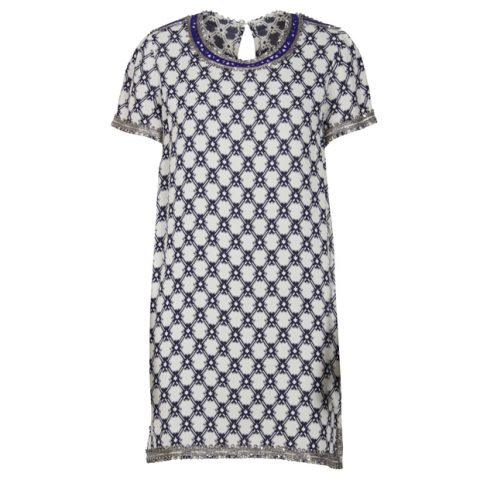 Isabel Marant Blue Printed Oversized Dress with Beading as seen on Meghan Markle.