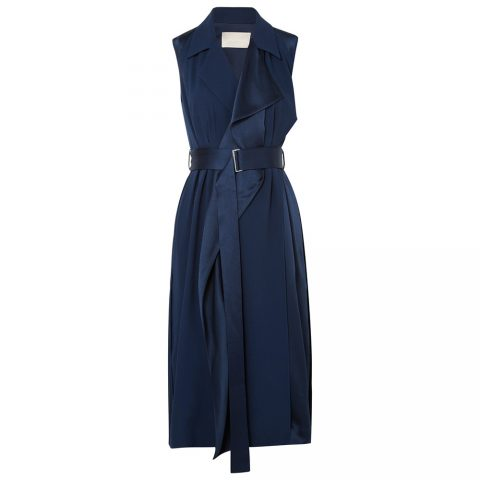 Jason Wu belted navy satin wrap dress as seen on Meghan Markle