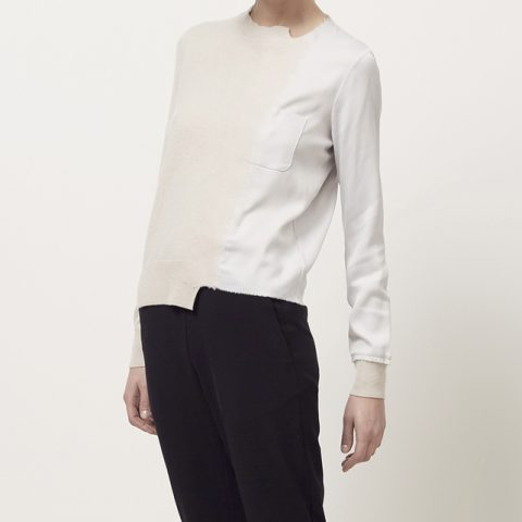 Maison Margiela Satin Applique Sweater worn by Meghan Markle as Rachel Zane on Suits Season 6 Episode 6.