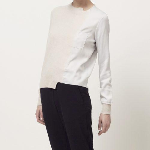Maison Margiela Satin Applique Sweater worn by Meghan Markle as Rachel Zane on Suits Season 6 Episode 6.