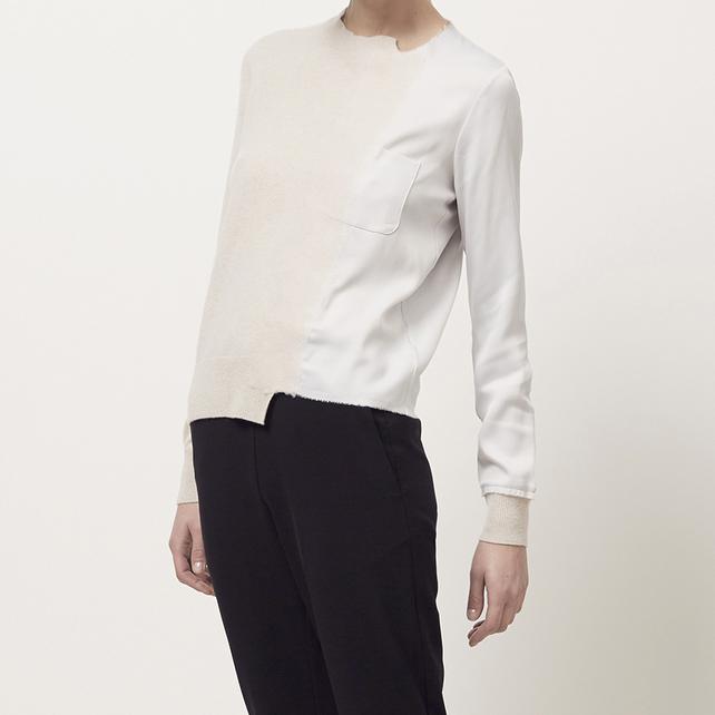 newest collection 7b1ce 429bd Maison Margiela Satin Applique Sweater | Meghan Maven