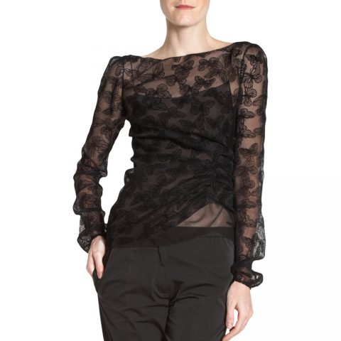 Nina Ricci Black Devore Velvet Butterfly Blouse as seen on Meghan Markle as Rachel Zane on Suits.