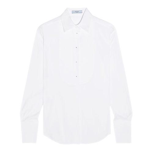 Prada Stretch cotton-blend shirt as seen on Meghan Markle as Rachel Zane on Suits Season 6 Episode 13.