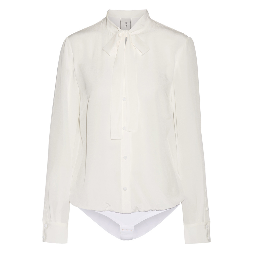 Tuxe 360° Bodywear Ivory BOSS Bodysuit Shirt as seen on Meghan Markle