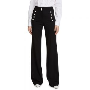 Veronica Beard Adley Wide-Leg Pearl Button Pants