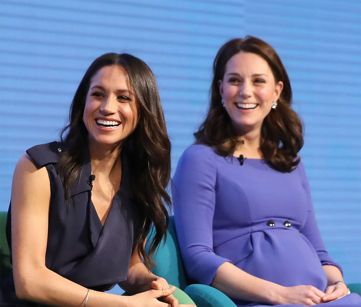 Meghan Markle and Duchess of Cambridge Catherine (Kate Middleton) at the Inaugural Royal Foundation Forum on February 28, 2018 in London, England.