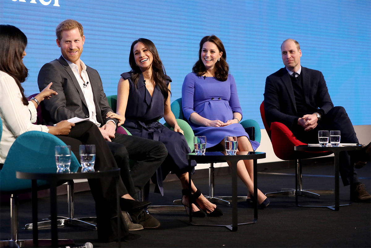 Prince Harry, Meghan Markle, Duchess of Cambridge Catherine (Kate Middleton) and Prince William Duke of Cambridge at the Inaugural Royal Foundation Forum on February 28, 2018 in London, England.