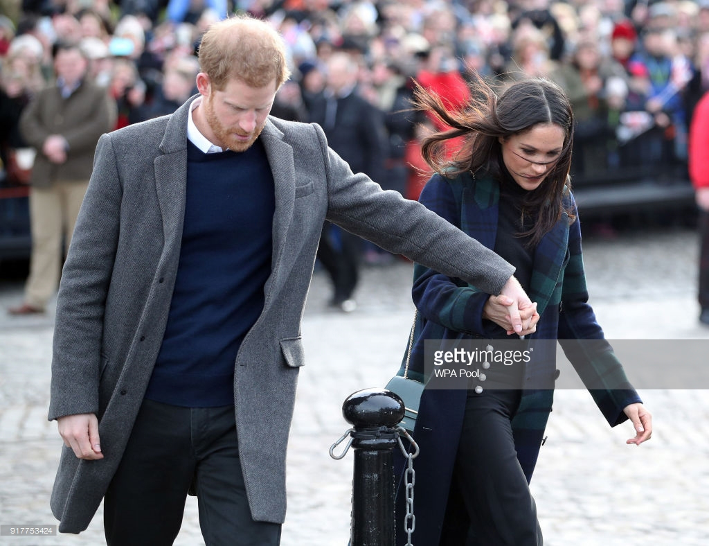 Meghan Markle and Prince Harry at Edinburgh Castle on February 13, 2018.