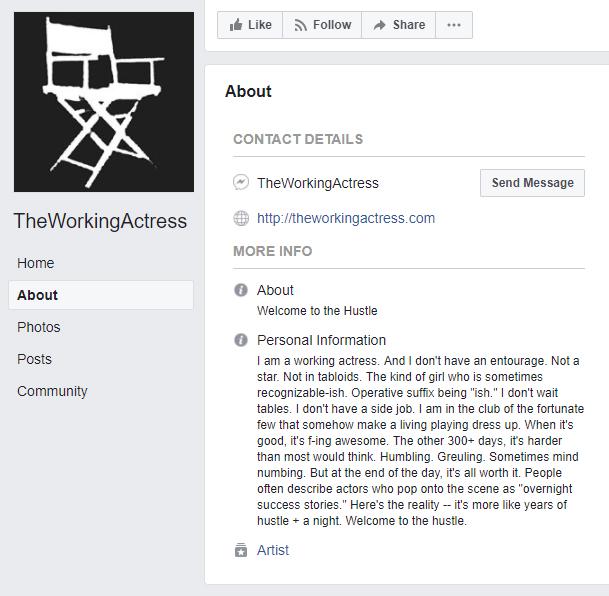 The Working Actress Facebook Bio