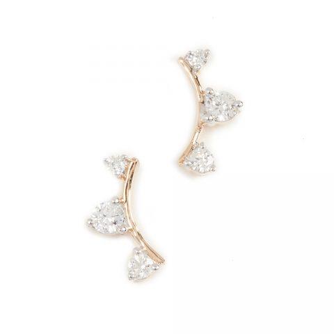 Adina Reyter 14k Gold Three Diamond Amigos Curve Posts as seen on Meghan Markle