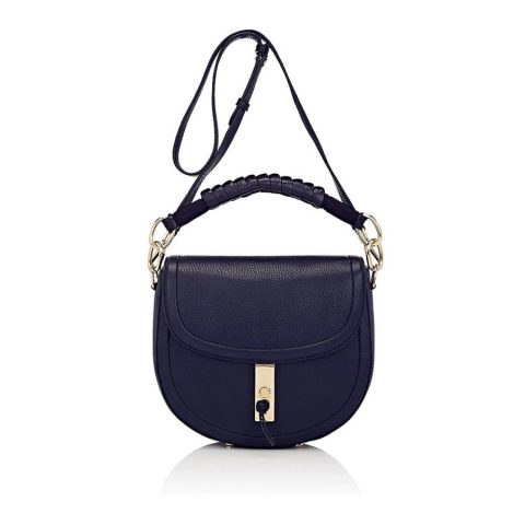 Altuzarra Ghianda Braided Top-Handle Saddle Bag in Navy as seen on Meghan Markle / Duchess of Sussex
