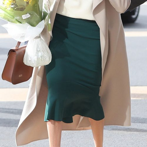 Greta Constantine Kace Skirt in Teal as seen on Meghan Markle.