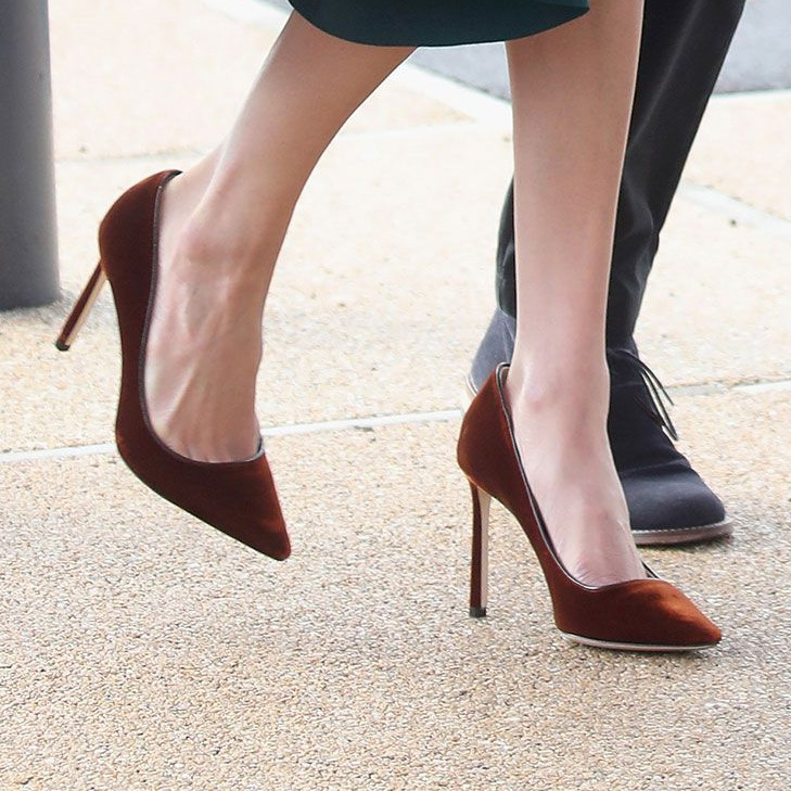 f23148b5eb9b Jimmy Choo Velvet Romy Pumps in Burn Orange as seen on Meghan Markle.