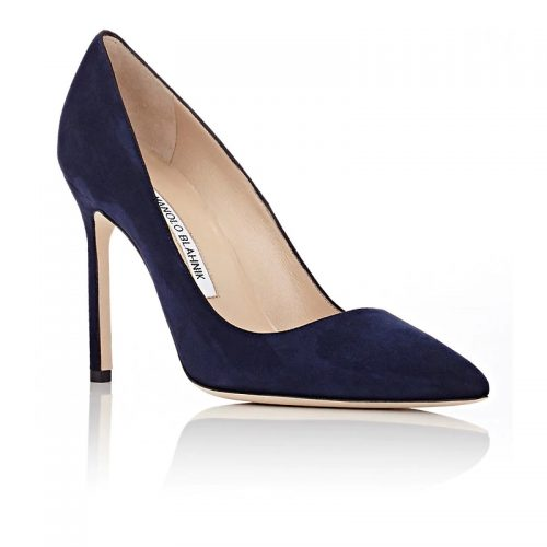 Manolo Blahnik Suede BB Pumps in Navy as seen on Meghan Markle