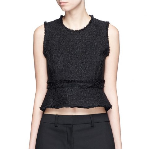 Proenza Schouler Frayed Tweed Sleeveless Peplum Top as worn by Meghan Markle as Rachel Zane on Suits.