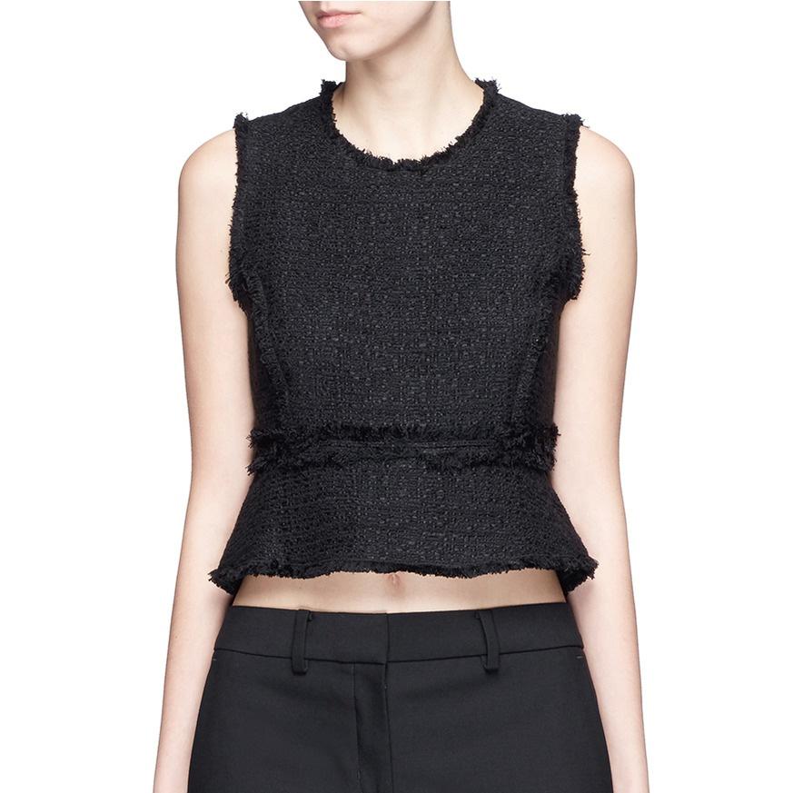 Proenza Schouler Frayed Tweed Sleeveless Peplum Top as worn by Meghan  Markle as Rachel Zane on