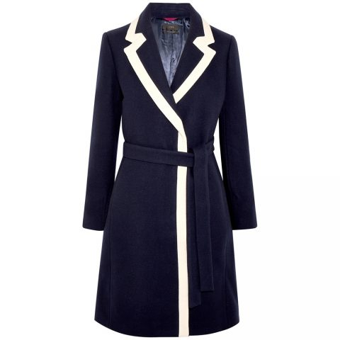 J.Crew two-tone coat in navy and white as seen on Meghan Markle