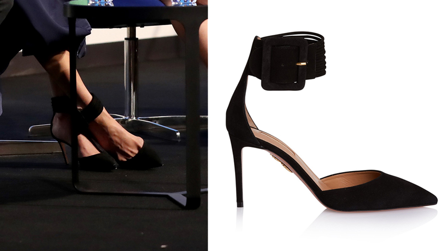 Meghan Markle wearing Aquazzura Casablanca multi-strap suede pumps to the first annual Royal Foundation Forum held at Aviva on February 28, 2018 in London, England.