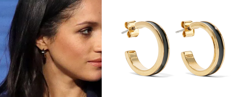 Meghan Markle wearing Isabel Marant Enameled Gold-tone Hoop Earrings to the first annual Royal Foundation Forum held at Aviva on February 28, 2018 in London, England.