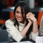 Bracelet detal: Meghan Markle with Prince Harry in Nottingham on International Women's Day on March 8, 2018.