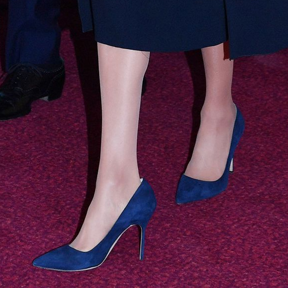 Shoe detail: Meghan and Harry attending the Queen's 92nd birthday party at the Royal Albert Hall on April 21, 2018 in London, England.