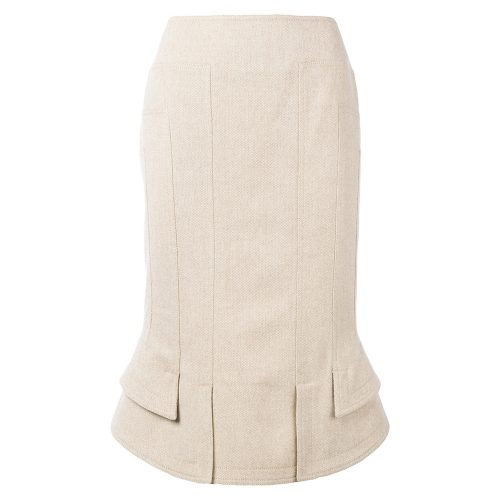 Tom Ford Beige silk and wool-blend pencil skirt as seen on Meghan Markle as Rachel Zane on Suits.